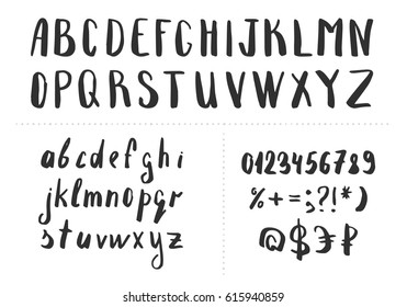 Hand drawn brush letters. Vector font. Isolated.