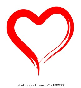 Hand Drawn Brush Painted Red Heart in Grunge Style. Might be used as Logo. Vector Illustration