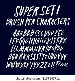 Hand drawn brush pen ABC letters big set. Doodle style vector font for your design.