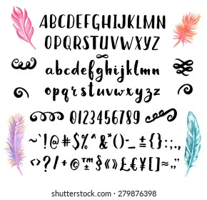 Hand drawn brush pen font for your awesome design with watercolor feathers.