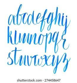 Hand drawn brush script font. Vector alphabet.
