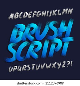 Hand drawn brush stroke alphabet font. Bold capital letters. Stock vector typography.
