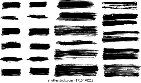 Hand Drawn Brush Stroke Collection . Vector isolated. Group of abstract grunge sketches for design training or graphic art.