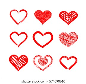 Hand drawn, brush stroke and grunge style hearts. Vector graphic design element.