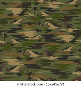 Hand drawn in brush stroke summer island and ocean in military camouflage color and mood seamless pattern in vector EPS10 design for all graphic used and all prints