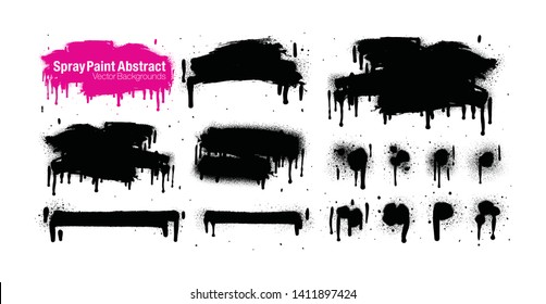 Hand drawn brush strokes isolated on white background. Grunge graphic elements. Dirty texture banners. Ink splatters. Vector illustrations.