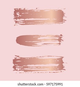 Hand drawn brush strokes. Stains, spots, lines elements for design. Abstract vector strips in rose gold color