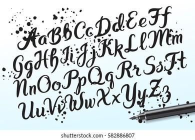 Hand drawn brushpen alphabet letters. Handwritten script font. Hand lettering custom typography with pen