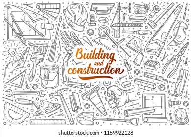 Hand drawn building and construction set doodle vector background