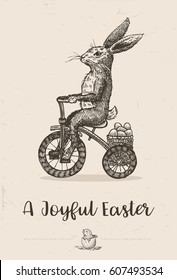 Hand drawn of bunny riding tricycle with Easter eggs