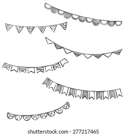 Hand drawn bunting flags