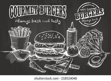 Hand drawn of burger and ingredients