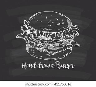 hand drawn burger on chalkboard background