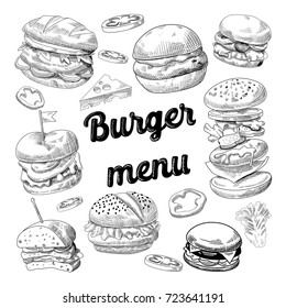 Hand Drawn Burgers. Fast Food Menu with Cheeseburger, Sandwich and Hamburger. Vector illustration