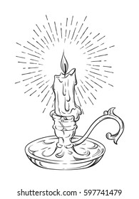 Hand drawn burning candle in candlestick with rays of light vector illustration isolated on white background
