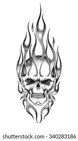 Hand drawn burning skull. Vector illustration