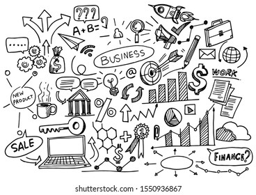 Hand Drawn Business background,Doodles vector illustration.