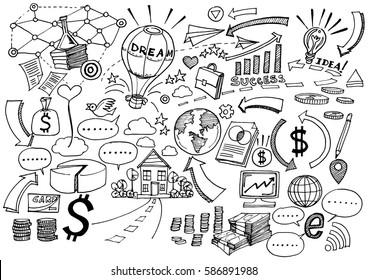 Hand Drawn Business background,Doodles vector illustration.