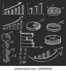 Hand drawn business finance elements on black background or blackboard