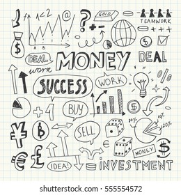 Hand Drawn Business and Money Doodle Elements