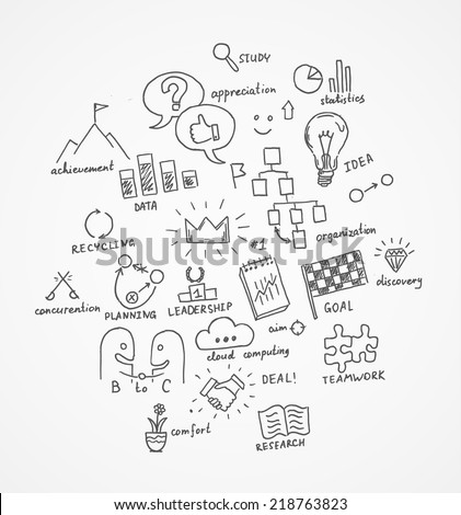 Hand Drawn Business Symbols Eps 10 Vector Stock Vector Royalty Free