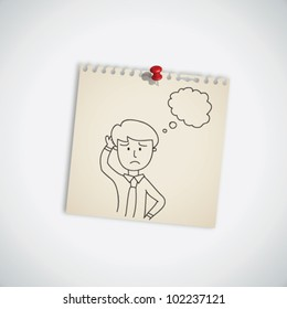 Hand Drawn Businessman Thinking on Note Paper Vector