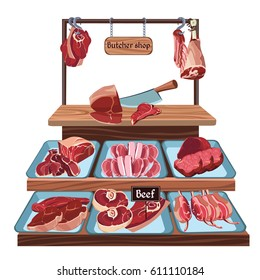Hand drawn butcher shop concept with knife and different parts of cutting beef on counter vector illustration