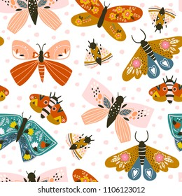 Hand drawn butterflies. Colored vector seamless pattern