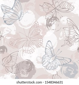 Hand drawn butterflies.  Retro vintage style. Seamless pattern. Vector illustration.