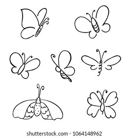 hand drawn butterfly. Vector doodled elements for decoration