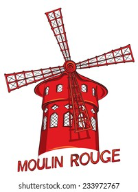 Hand drawn of cabaret Moulin Rouge in Paris, France. Vector illustration