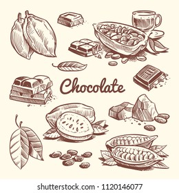 Hand drawn cacao, leaves, cocoa seeds, sweet dessert and chocolate bar. Cocoa sketch vector collection. Drawing chocolate sweet, sketch brown bean ingredient illustration