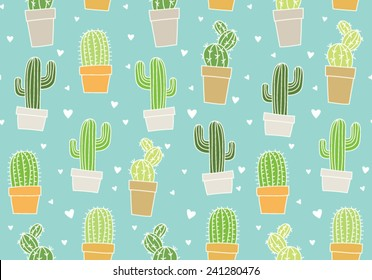 Hand drawn cactus background pattern