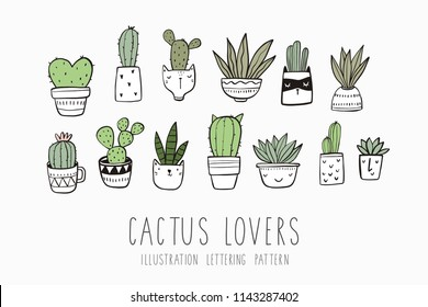 Hand drawn cactus print