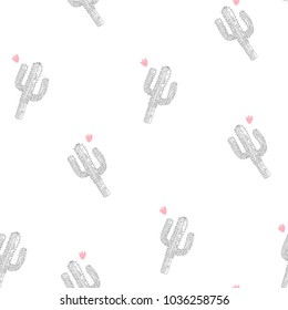 Hand drawn cactus seamless pattern and background design for printing, Graphic t shirt & Printed t shirt