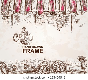 Hand drawn cafe background