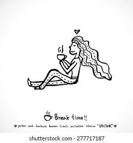 Hand drawn cafe poster illustration - vector