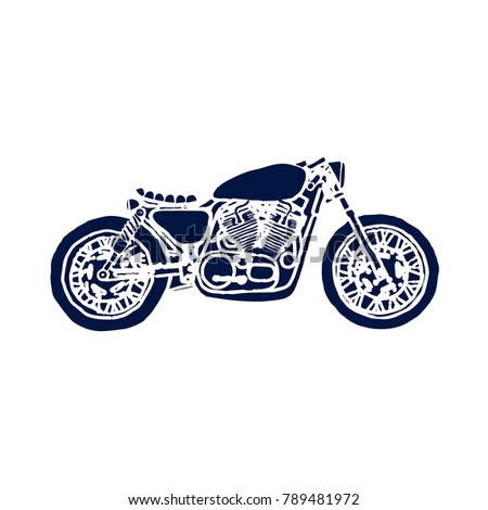 Hand Drawn Cafe Racer Bike On Stock Vector Royalty Free 789481972