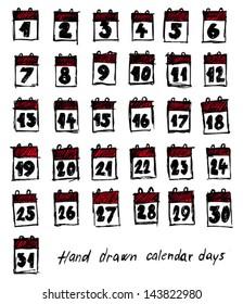 Hand drawn calendar days