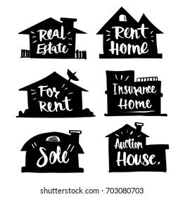 Hand drawn Caligraphy in silhouette house, real estate, rent home, Happy, for rent, insurance home, sold, auction home, icon or logo. Lettering, calligraphy vector illustration.