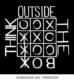 """Hand drawn calligraphic quote """"Think outside the box""""."""