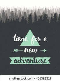 Hand drawn calligraphic quote. Time for a new adventure. Motivation poster with sunbursts on pink background.