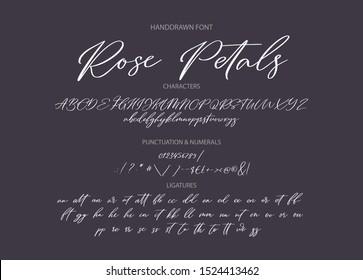 Hand drawn calligraphic vector font. Distress grunge texture. Modern script calligraphy type. ABC typography latin alphabet.