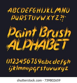 Hand drawn calligraphy brush stroke alphabet. Uppercase and lowercase letters and numbers. Stock vector typeface for your headers and any typography design.