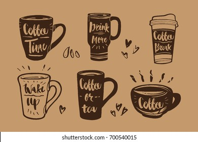 Hand drawn Calligraphy in coffee label set. Coffee time, drink more, wake up, coffee or tea icon or logo. Lettering, calligraphy vector illustration