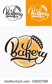 Hand drawn calligraphy lettering. Bakery logo