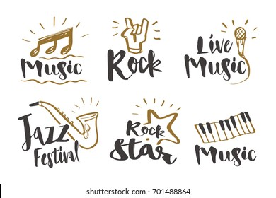 Hand drawn calligraphy Music, rock, jazz festival, rock star, live music and instruments icon or logo. Lettering, illustration vector design.