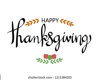 """hand drawn calligraphy with quotes """"Happy Thanksgiving"""" element for background, wallpaper, texture, card, cover etc. vector design"""