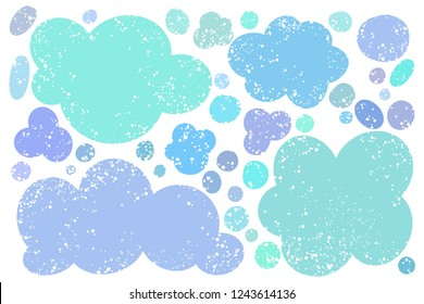 Hand drawn callout clouds for backdrops. Vector textured multi color elements for designs. Simple textured backgrounds in speech bubble shapes.