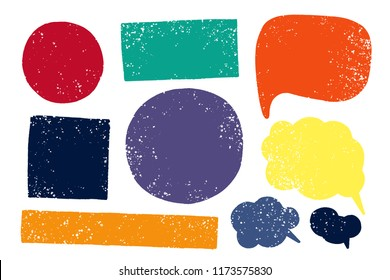 Hand drawn callout clouds and various shapes for backdrops. Vector textured multi color elements for designs. Simple textured backgrounds.